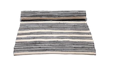 Rug Solid Cotton matta - Grey/offwhite striped