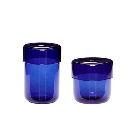 Förvaringsburk Glas Blå 2 st