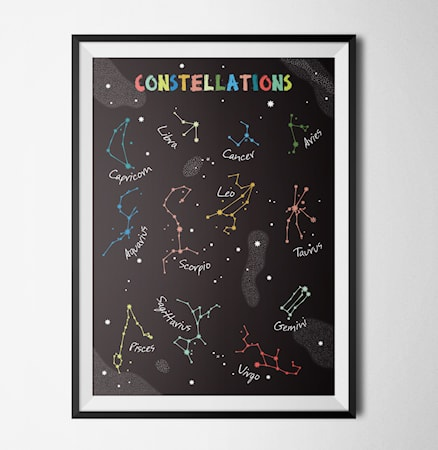 Bilde av Konstgaraget Constellations black poster