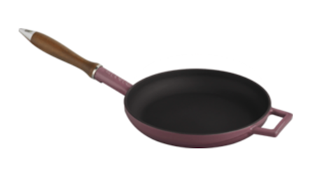 Lava FRYING PAN Ø28 C/W WOODEN HANDLES - GLASS LID PINK