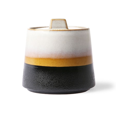 70's Sockerskål Keramik Brun/Vit/Brun 11,5 cm