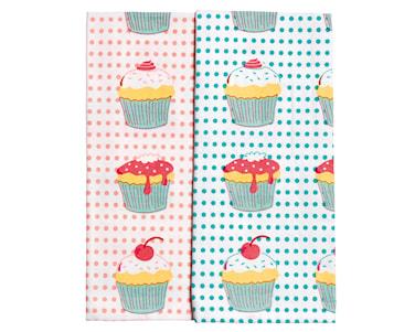 Handduk-set cupcakes rosa/vit och turkos/vit