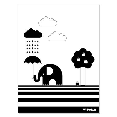 Bilde av w:form Elephant & apple poster – Svart/hvit
