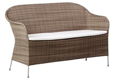 Sika Design Athene 2-sits trädgårdssoffa - Teak grå, inklusive dyna
