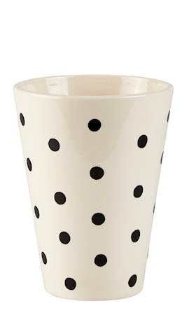 KJ Collection Vase - m. prikker - Dolomite - Creme - Sort - D 15,0cm - H 20,0cm - Stk. thumbnail