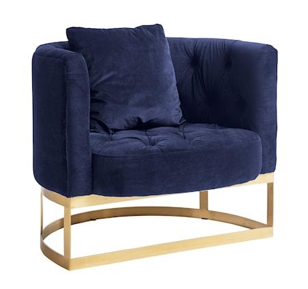 Nordal Lounge chair fåtölj - Dark blue/brass
