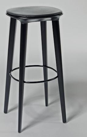 minus tio Audrey björk barstol - H78, svartbetsad björk, svart skinnsits