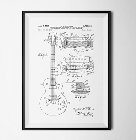 Bilde av Konstgaraget Patent guitar hvit poster