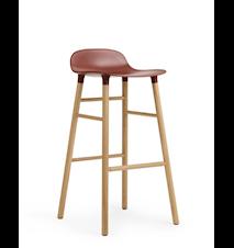 Form Barstol Röd/Ek 75 cm