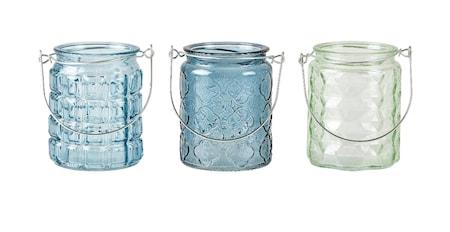 KJ Collection Kynttilänpidike 3 st m lahjapakkaus Sininen 8x10 cm