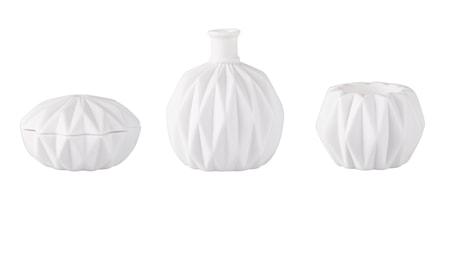Bilde av KJ Collection Sett med Vase, Boks og Lysestake Hvit