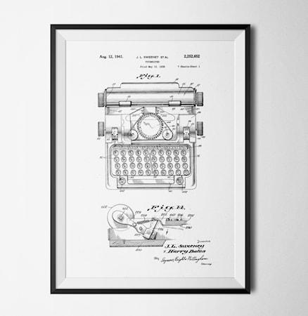 Bilde av Konstgaraget Patent typewriter white poster