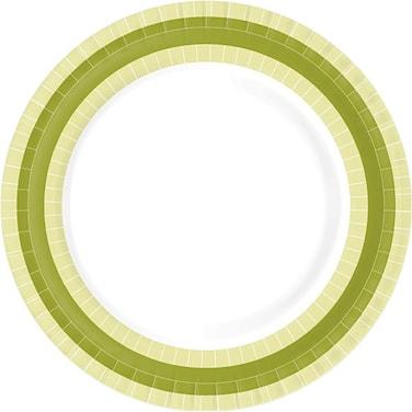 Papperstallrik Flat 22 cm BBQ Green Line 10-pack