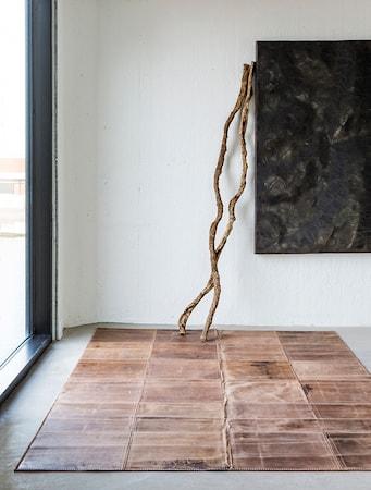 Leather Dark Brun Matta 160x240 cm