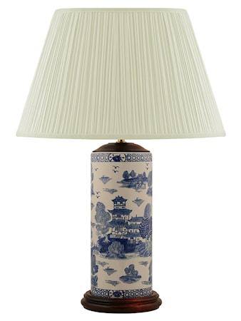 Mr Fredrik Lampfot 32 cm penmodell blåvitwillow mönster