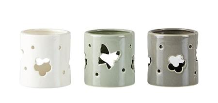 KJ Collection Kynttilänpidike 3 st m lahjapakkaus Keramiikka Harmaa 7x7 cm