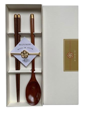 Mizuhiki gåvoset med Ätpinnar + Sked och Stöd Guld