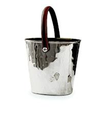 Polo- Silverpläterad ishink med läderhandtag