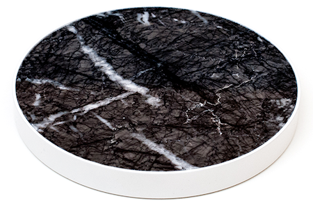 HUGONORA Musta Marmori Lasinalunen - Valkoinen Reuna