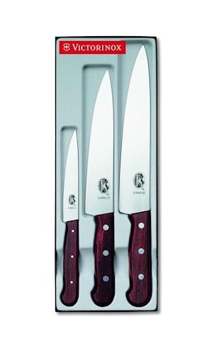 Knivset, 3 delar, rosenträ i presentask