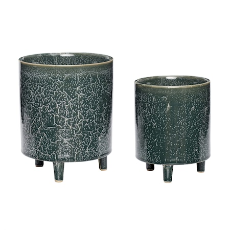 Kruka Keramik Grön 2 st
