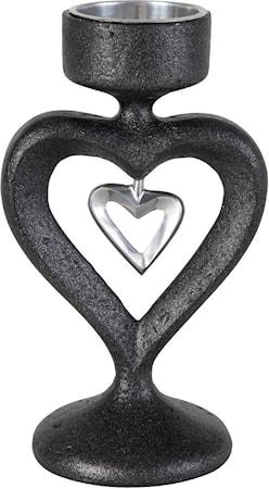 Bilde av PR Home In my heart Lysestake Svart 16 cm