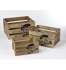 Låda Trä 3-pack