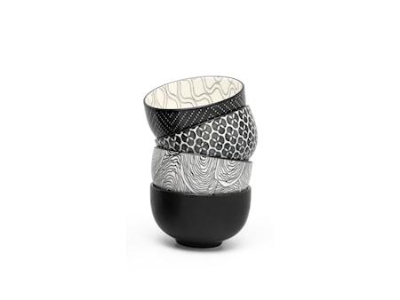 Pucheng mugg 4 st. vit/svart olika mönster Ø9,5cm H6cm Bredemeijer