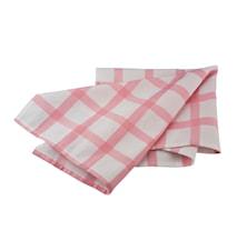 Handduk rutig vit/rosa