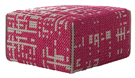 GAN Rugs Canevas Square Abstract Puff 60x60x35 - rosa