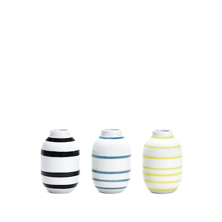 Bilde av Kähler Omaggio vase miniatyr 3-pakk Svart/Blå/Gul H 8 cm