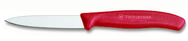 Grönsaks- & skalkniv 8 cm rött handtag, spetsig