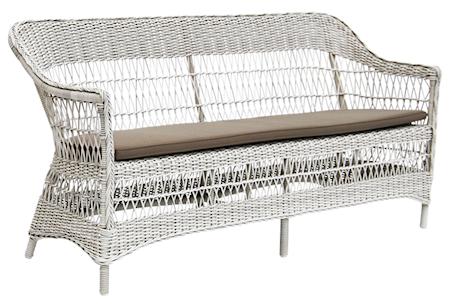 Sika Design Charlot 3-sits soffa - Vintage white, inkl grå dyna