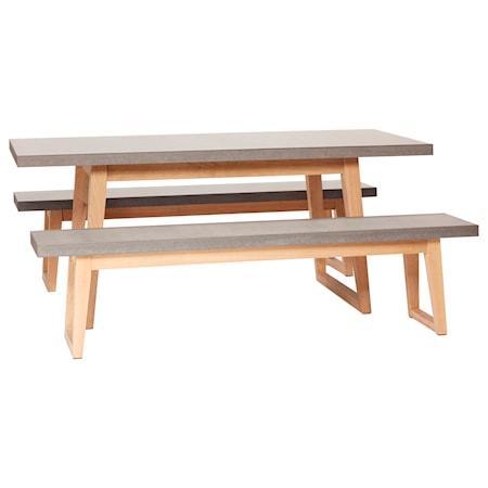 Hübsch Trädgårdsbord med bänkar - Natur/Grå