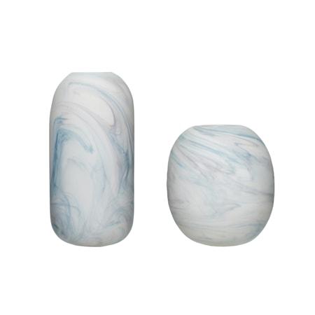 Vas Glas Marmor Vit Blå 2 st