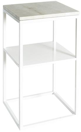 Svensk Marmor Sidobord Vit marmor/Vit 40x40x70 cm