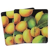 Skärbräda/Grytunderlägg Citron Glas 2-pack