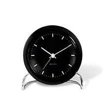 Arne Jacobsen City Hall bordsur, svart/svart, Ø 11 cm, alarmfunktion