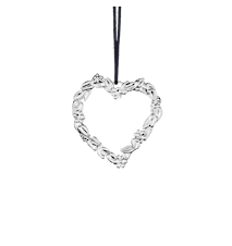 Blomsterhjärta, 6 cm, försilvrad