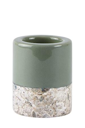 Bilde av KJ Collection Lyslykt Marmor/Grønn 8 cm