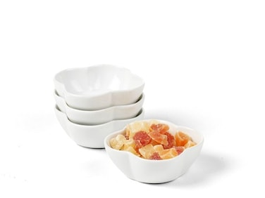 Klöverformad skål 4-pack Vit