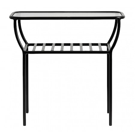 Side table, black, w/glass plate, bars