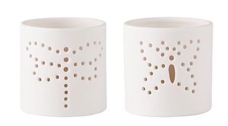 Bilde av KJ Collection Lyslykt med mønster porselen Hvit 7 cm
