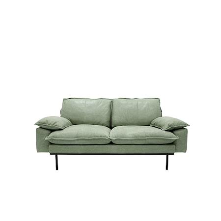 Retro Soffa Läder 2-sits Mint Grön
