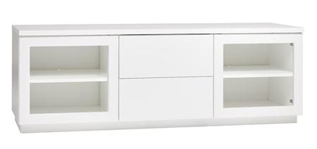 Hiipakka Sonaatti tv-bänk - 150 cm - klarglas - vit/vit