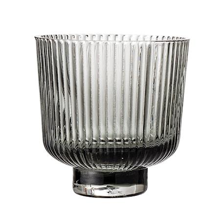 Ljuslykta Grey Glass Ø9xH8,5 cm