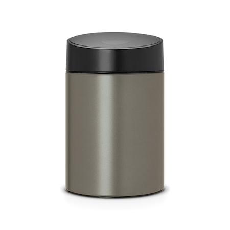 Brabantia Slide Bin med svart plastlock plastinnerhink (går att montera på vägg) 5 L Platinum