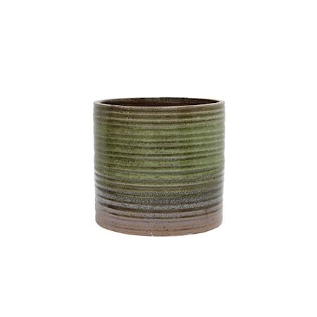 Bilde av Blomsterpotte Keramikk Grønn og Brun 12,5 cm