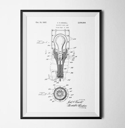 Bilde av Konstgaraget Patent lamp white poster
