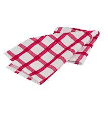 Handduk rutig vit/röd